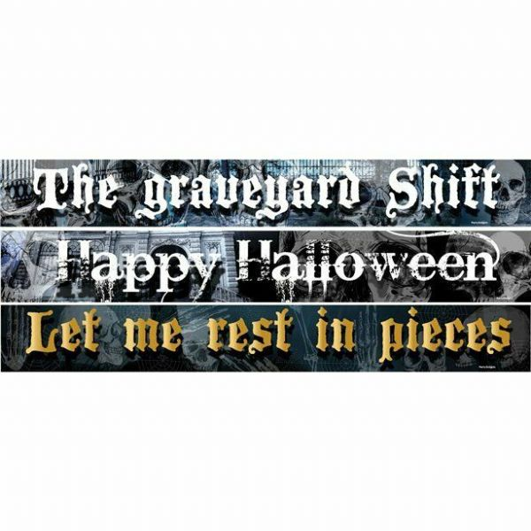 Halloween Graveyard Shift  Paper Banners 3 designs 1m each